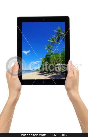 tablet computer stock photo,  tablet computer. Isolated over white background. by Vitaliy Pakhnyushchyy