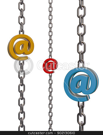 email chains stock photo, metal chain with email symbol - 3d illustration by J?