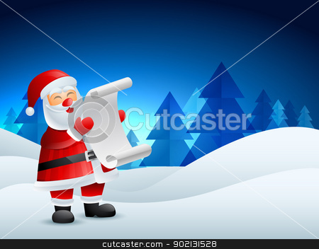 santa claus illustration stock vector clipart, santa claus reading list of gifts by pinnacleanimates