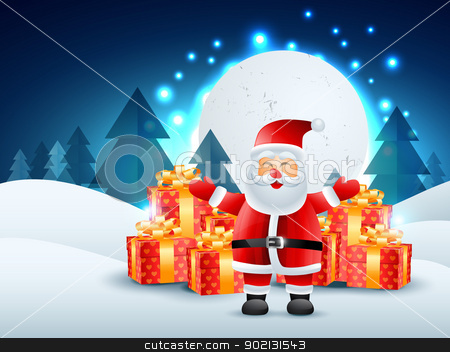 santa claus with gifts stock vector clipart, santa claus with gifts illustration by pinnacleanimates