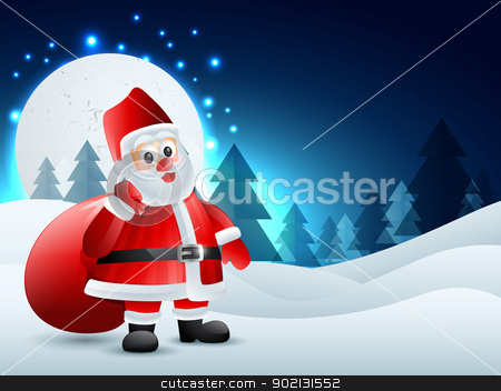 christmas santa claus stock vector clipart, santa claus carrying bag of presents by pinnacleanimates