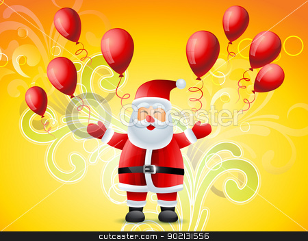 happy santa claus stock vector clipart, vector happy santa claus flying balloons by pinnacleanimates
