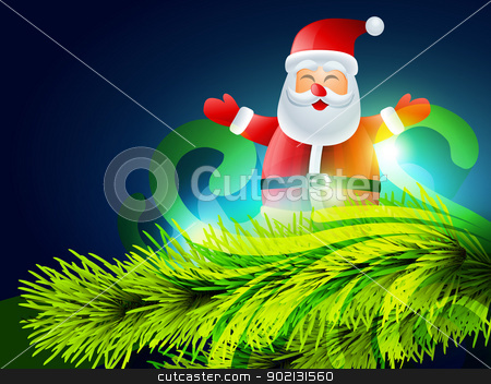 santa claus illustration stock vector clipart, cute santa claus christmas background by pinnacleanimates
