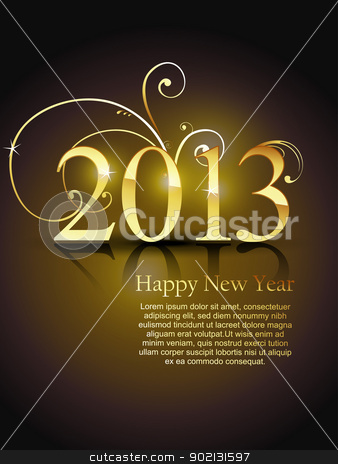 vector golden new year design stock vector clipart, beautiful golden color vector new year design art by pinnacleanimates