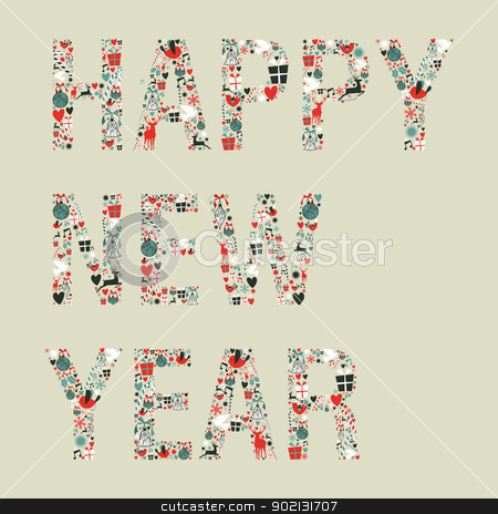 2013 happy new year xmas icons stock vector clipart, Christmas decorations icons in 2013 happy new year greeting card. Vector illustration layered for easy manipulation and custom coloring. by Cienpies Design