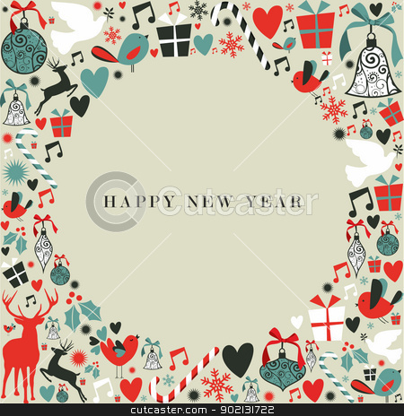 Christmas icons 2013 happy new year stock vector clipart, Christmas decorations icons in 2013 happy new year postcard background. Vector illustration layered for easy manipulation and custom coloring. by Cienpies Design