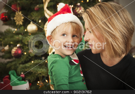 Young Mother and Baby Son Christmas Portrait stock photo, Attractive Young Mother and Baby Son Christmas Portrait. by Andy Dean