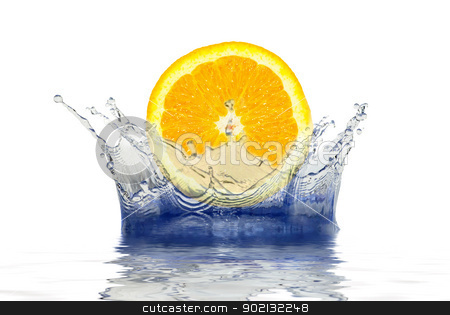 orange  in  water stock photo, splash of blue water on a white background by Vitaliy Pakhnyushchyy