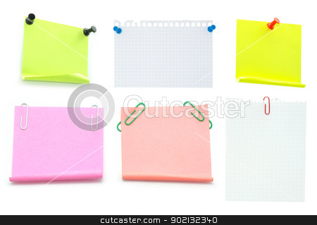  note paper stock photo,  Blank note paper and red paper-clip isolated  on white by Vitaliy Pakhnyushchyy