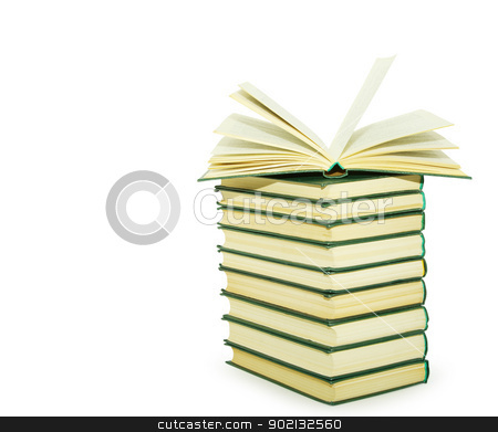 books  stock photo,   Stack of books isolated over white background by Vitaliy Pakhnyushchyy