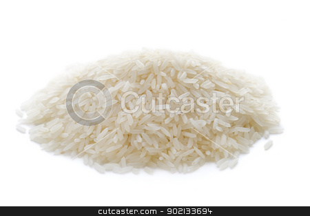 basmati rice isolated stock photo, uncooked basmati rice isolated on a white background by Lee Avison