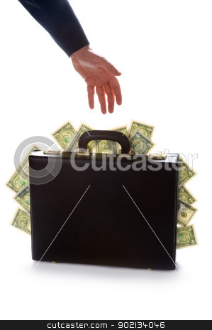 businessman reaching for a briefcase full of money stock photo, businessman reaching for a briefcase bursting with american dollars by Lee Avison