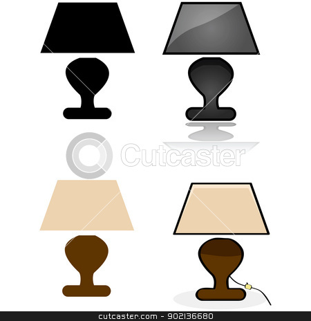 Table lamp stock vector clipart, Icon illustration showing a table lamp in four different styles by Bruno Marsiaj