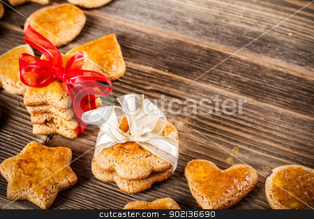 Homemade ginger cookies stock photo, Homemade ginger cookies over wooden table by Grafvision