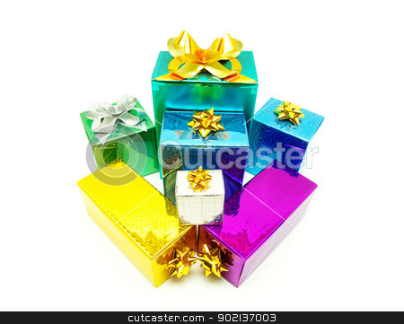 gifts  stock photo, Christmas box gifts with satin bow isolated on white background by Vitaliy Pakhnyushchyy