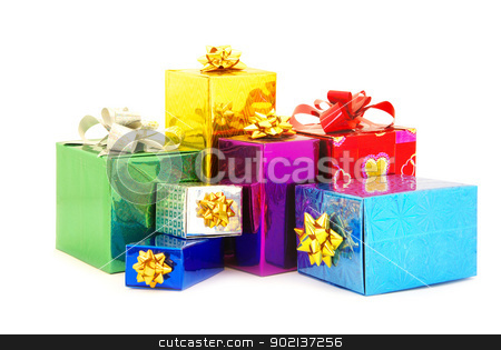 box  stock photo, Christmas box gifts with satin bow isolated on white background by Vitaliy Pakhnyushchyy