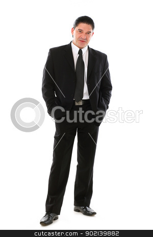 Confident mid aged man in suit posing in studio stock photo, Confident mid aged man in suit posing in studio over a white background by yekostock