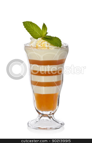 Apricot and Lemon Parfait stock photo, Apricot-orange and lemon parfait with orange sauce, whipped cream and mint. by Glenn Price