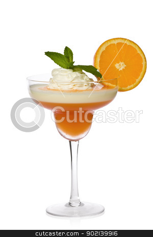 Apricot and Lemon Parfait stock photo, Apricot-orange and lemon parfait with orange sauce, whipped cream, mint, and a slice of orange. by Glenn Price