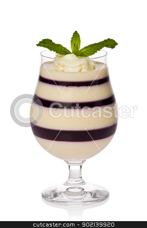 Blueberry and Cheesecake Parfait stock photo, Blueberry and cheesecake parfait with whipped cream and garnished wit mint leaves. by Glenn Price