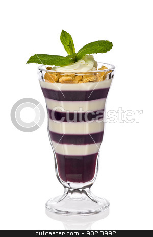 Blueberry and Cheesecake Parfait stock photo, Blueberry and cheesecake parfait with graham crackers, whipped cream and garnished wit mint leaves. by Glenn Price