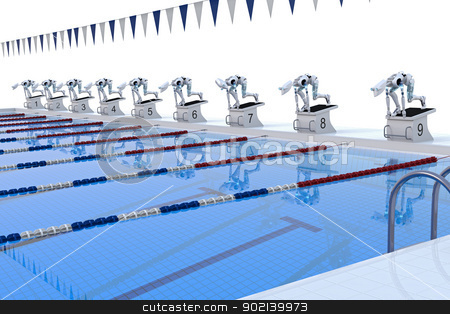 Robot Swimming Competition stock photo, Several robots preparing to compete in swimming race. by Glenn Price