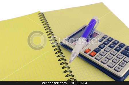 Calculator and pen on the yellow writing-book stock photo, Calculator and pen on the yellow writing-book by Sergei Devyatkin