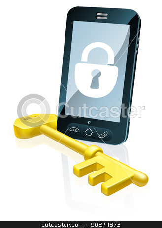 Mobile phone security concept stock vector clipart, A mobile phone security concept. Mobile phone with gold key and padlock lock icon on the screen by Christos Georghiou