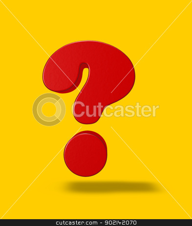 question mark stock photo, red question mark on yellow background - 3d illustration by J?