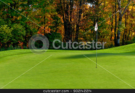 Golf course putting green stock photo, Golf course putting green with flag in autumn colors by Ulrich Schade
