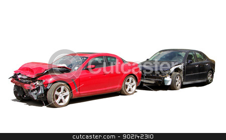 wreck stock photo, auto accident truck hit right front                                             by Vitaliy Pakhnyushchyy