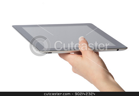  tablet computer stock photo, hands holding the tablet computer by Vitaliy Pakhnyushchyy