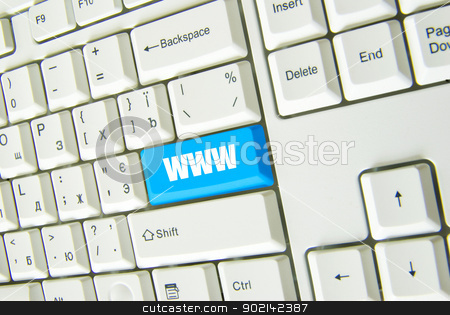 Computer keyboard  stock photo, Computer keyboard  blue Internet key. business concept by Vitaliy Pakhnyushchyy