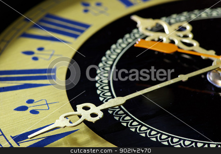 old clock stock photo, Old clock close-up with roman numbers by Vitaliy Pakhnyushchyy