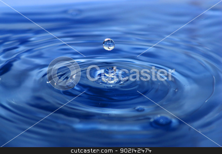 drop  stock photo, The round transparent drop of water falls downward by Vitaliy Pakhnyushchyy