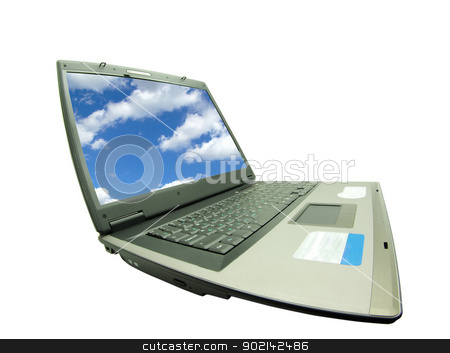 laptop stock photo, Notebook personal computer on white background          by Vitaliy Pakhnyushchyy