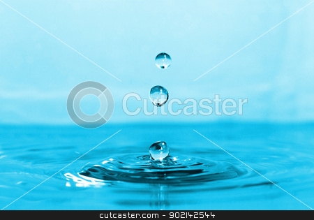 Water drop stock photo, The round transparent drop of water falls downward by Vitaliy Pakhnyushchyy
