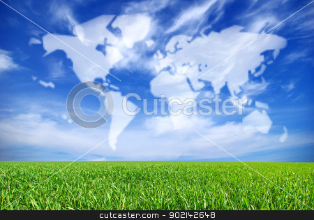 landscape stock photo, field on a background of the blue sky by Vitaliy Pakhnyushchyy