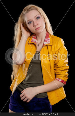 portrait of beautiful blonde girl stock photo, portrait of blond woman in studio. Isolated on black by Aikon