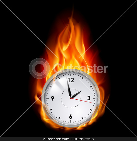 Clock in fire stock photo, Clock in Fire. Illustration on black background for design by dvarg