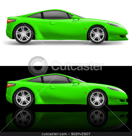 Green Sport Car stock photo, Green Sport car icon. Illustration on white and black by dvarg