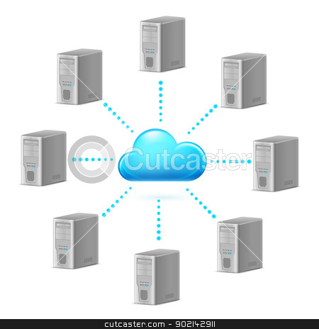 Cloud computing stock photo, Cloud computing symbol. Illustration for design on white background by dvarg