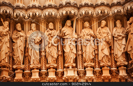 Christ Disciple Statues Gothic Cloister Monestir Monastery of Mo stock photo, jesus, Christ, Disciples, St. Peter, St. John, Statues Golthic Cloister Monestir Monastery of Montserrat, Barcelona, Catolonia, Spain.  Founded in the 9th Century, destroyed in 1811 when French invaded Spain. Rebuilt in 1844 and now a Benedictine Monastery.  Placa de Santa Maria by William Perry