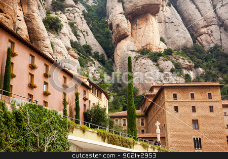 Monestir Monastery of Montserrat Barcelona, Catalonia, Spain stock photo, Monestir Monastery of Montserrat, Barcelona, Catolonia, Spain.  Founded in the 9th Century, destroyed in 1811 when French invaded Spain. Rebuilt in 1844 and now a Benedictine Monastery.  Placa de Santa Maria by William Perry