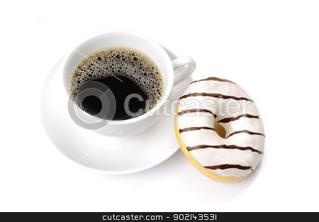 Coffee Break stock photo, A cup of coffee and a donut by Preartiq