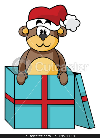 Teddy in box stock vector clipart, Sweet teddy bear inside Christmas gift box by Oxygen64