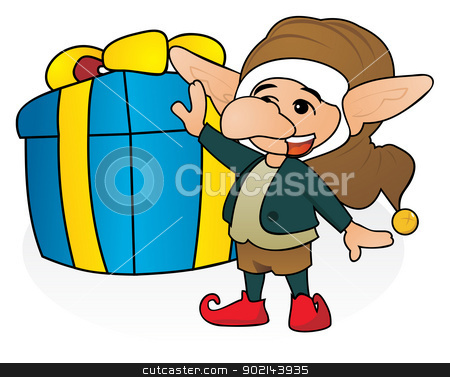 Gift from gnome stock vector clipart, Happy gnome with huge Christmas gift by Oxygen64