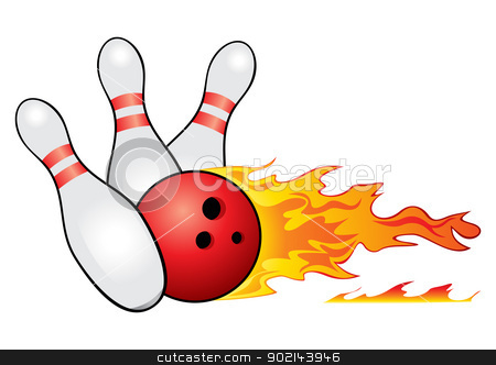 Bowling symbol stock vector clipart, Red bowling ball crashing into the pins by Oxygen64