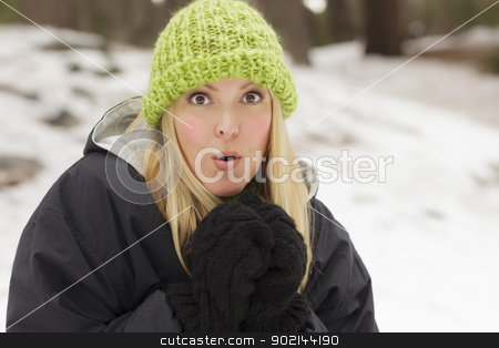 Attractive Woman Having Fun in the Snow stock photo, Attractive Woman Having Fun in the Snow on a Winter Day. by Andy Dean