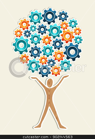 Man gear machine concept tree stock vector clipart, Man gear machine business development concept tree. Vector illustration layered for easy manipulation and custom coloring. by Cienpies Design